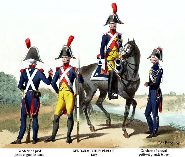 Uniformes de gendarmes au XIXe siècle